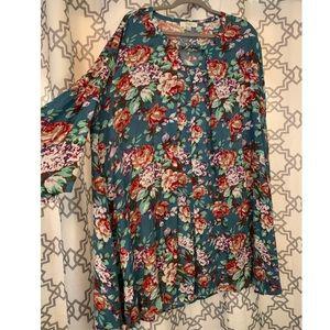 Umgee + Blue Floral Dress